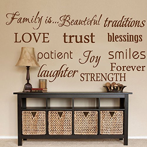 LUCKKYY Family Wall Decal~~ Set of 12 Family Words Quote Vinyl Family Wall Decal Family Room Art Decoration Living Room Decor Decoration for Home Decor(Brown)