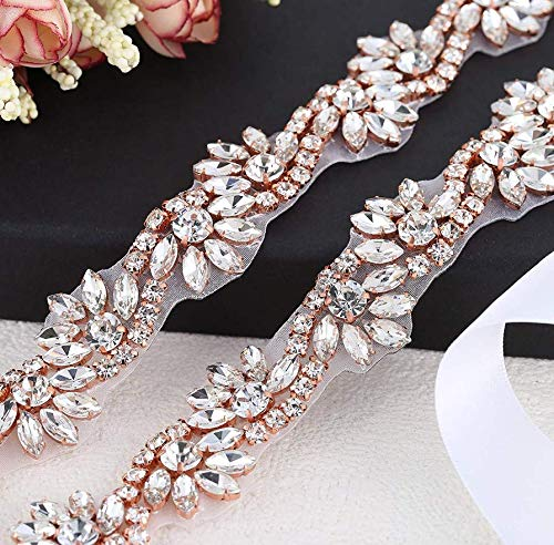 1 Yard Rhinestone Diamante Belt Applique Sew Iron on Crystal Bridal Wedding Dress Sash Beaded Jeweled Patch for Bride Bridesmaid Gown Women Prom Formal Belt Clothes Embellishments (Rose Gold-Floral) ()