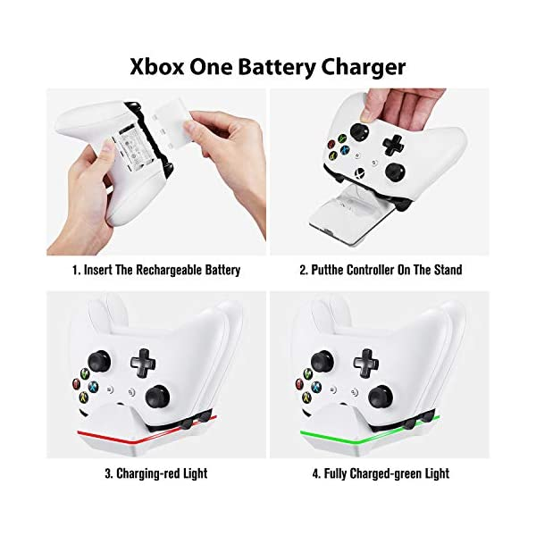 Controller Charger for Xbox One, CVIDA Dual Xbox One/One S/One Elite Charging Station with 2 Rechargeable Battery Packs… 6
