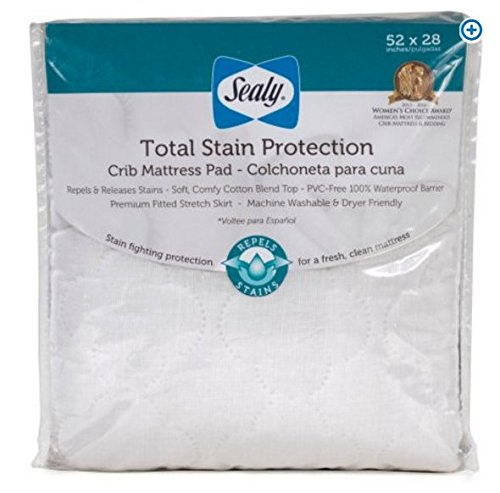 - Sealy Total Stain Protection Crib Mattress Pad