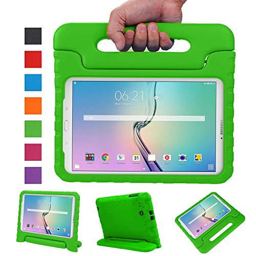 NEWSTYLE Tab E 9.6 Case - Shockproof Light Weight Protection Handle Stand Kids Case for Samsung Galaxy Tab E / Tab E Nook 9.6 Inch 2015 Tablet for Both WiFi and Verizon 4G LTE Version (Green)