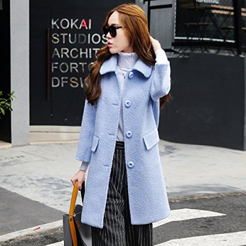Atmosphere Windbreaker Long Winter Section Autumn Dignified Version And Coat Concise Korean Autumn Skin Nihiug Friendly Supple Female LightBlue Ability EwpnfP0Eq