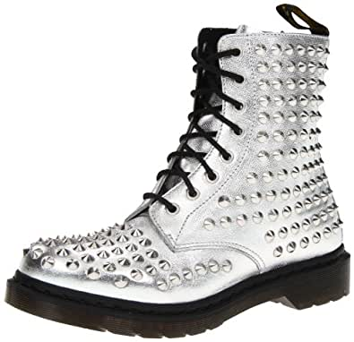 Dr martens women 39 s spike boot silver mora for Amazon dr martens