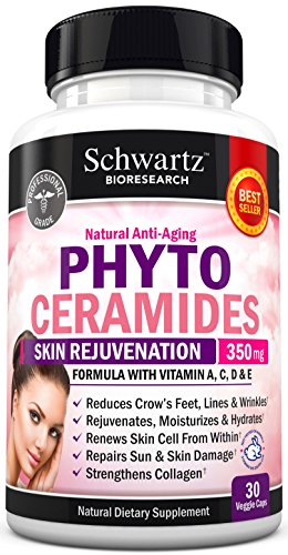 Phytoceramides 350 mg Formulated by Doctors. Gluten Free, Non GMO. Powerful Anti-Aging Skin Care & Skin Rejuvenation. Reduce Fine Lines & Wrinkles (from Sweet Potato) Made in USA. Money Back Guarantee