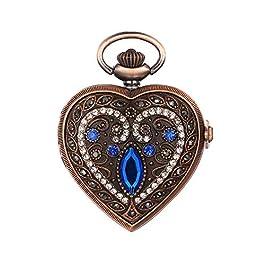 JewelryWe Men Women Pocket Watch Quartz Watch Luxury Rhinestone Heart Pendant Necklace Watch, for Va