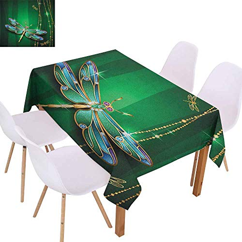 Marilec Elegance Engineered Tablecloth Dragonfly Vivid Figures in Gemstone Crystal Diamond Shapes Graphic Artsy Effects and Durable W60 xL84 Gold Hunter -