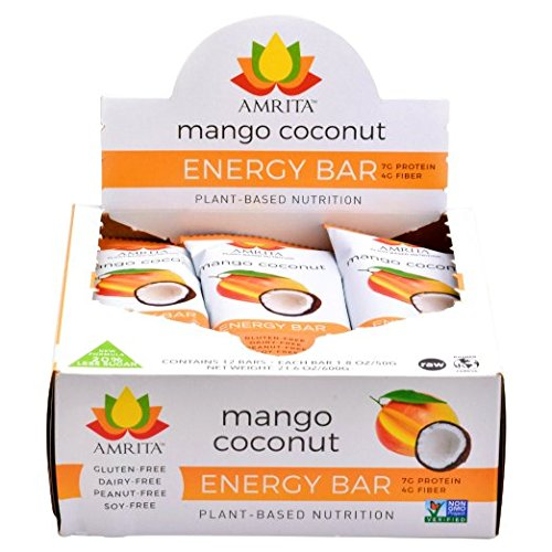 Paleo Mango Coconut Nutrition Bars - Gluten-Free, Soy-Free, Dairy-Free, Non-GMO Certified - Vegan, Raw and Kosher - Kid-School Safe Snack - Clean fuel for athletes - Pack of 12- 1.8oz Each  by Amrita ()