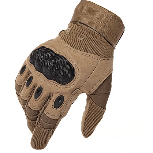 HKJYCstore Tactical Military Gloves Outdoor Sports Full Finger Combat Gloves Sport Shooting Paintball Hunting Riding Motorcycle Racing Slip-Resistant Carbon Fiber Brown (Large)