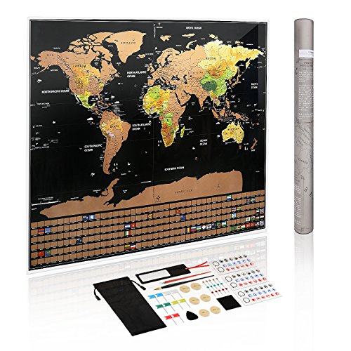 Scratch Off Map of the World ,Relax Artist Travel Map Poster 32.4 in on