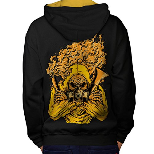 Insane Asylum Mask (Wellcoda Toxic Gas Mask Horror Men M Contrast Hoodie Back)