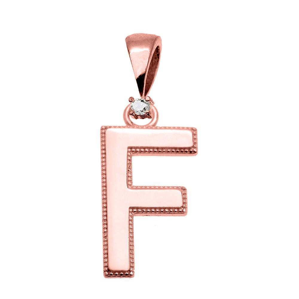 10k Rose Gold High Polish Milgrain Solitaire Diamond F Initial Pendant