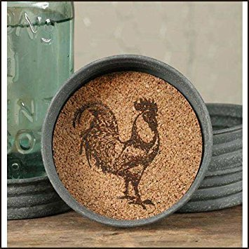 Mason Jar Rooster Lid Coaster (Pack of -