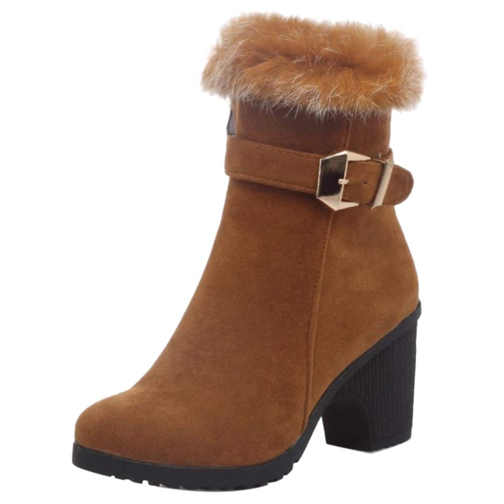 RizaBina CarziCuzin Women Fashion Block Heel Ankle Boots Zipper