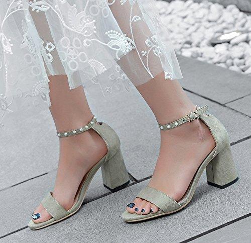 Perlen Grün Damen Ankle Strap Sandalen Mid Block Dressy mit Aisun 68wAqUfFw