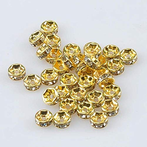 (Calvas AAA Golden Color Crystal Rhinestone Rondelle Spacer Beads for Jewelry Handmade 200Pcs 6mm YKL0528-6 - (Color: Golden))