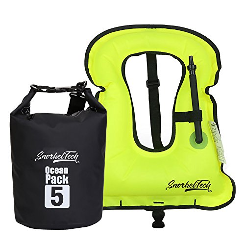 le Snorkel Vest For Kids - Waterproof Dry Bag Included - Suitable For Snorkeling And Swimming - Small Size Flotation Device Ideal For Boys And Girls Below 12 (Neon Green) ()