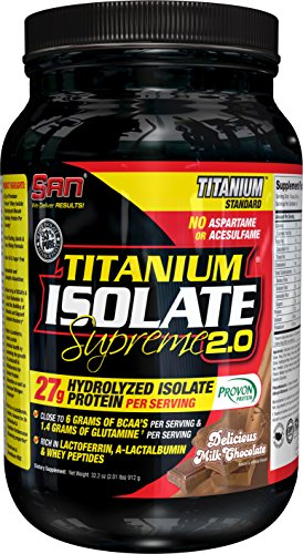 SAN Nutrition Titanium Isolate Supreme Protein Powder with Premium Hydrolyzed Whey Isolate, Lactose-Free, No Carbs, with High BCAA and L-Glutamine, Milk Chocolate Delight, 2 Pounds