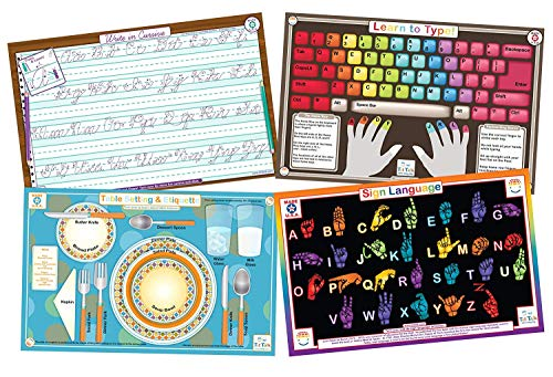 Etiquette Sign - Tot Talk Educational Kids Placemats Set of 4: Learn to Type, Cursive, Sign Language, Table Setting & Etiquette- Reversible Activities- Waterproof, Washable, Wipeable, Durable, USA-Made, Table Mats
