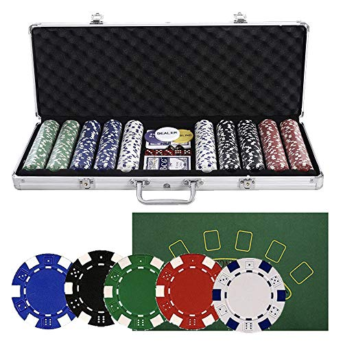 WINMART 500 PCS Clay Quality Poker Chips Blackjack Chips with Aluminum Case, Suit for 4-9 Players - Casino Dice w/500 Poker Chips Set Aluminum Carry Case 5 Color