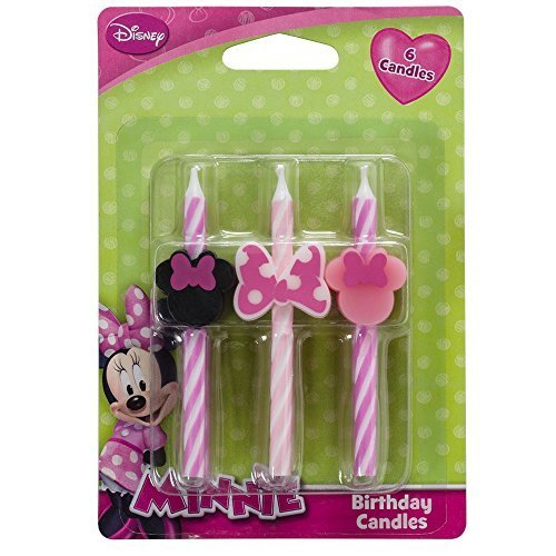 Disney Minnie Mouse Cake Candles - 6 pc (Pink Striped Cake Candles)