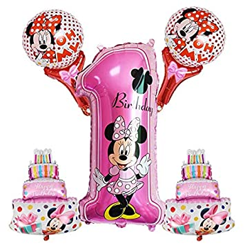 LIZHIOO 5 unids / Set Mickey Minnie Número 1 Globos Niños 1 ...