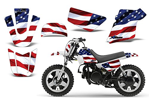 Kit Decal Graphics (Stars & Stripes-AMRRACING MX Graphics decal kit fits Yamaha PW50 All years-Red-White_Blue)