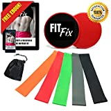 FitFix Resistance Loop Bands and Exercise Sliders Set Home & Personal Fitness Equipment | 5 Elastic Bands + 2 Gliding Discs | Awesome Core, Legs, Abs Workouts for Home, Travel, Gym