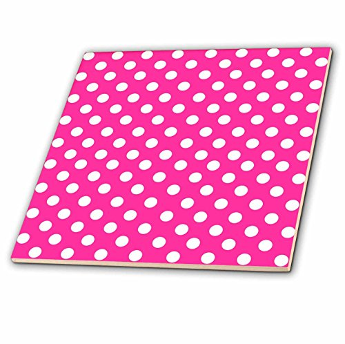 3dRose ct_56697_5 White Polka Dots on Hot Pink Retro Girly fifties Fashion Cute and Stylish Dot Pattern Glass Tile, 4-Inch (Dots Polka White Tray)