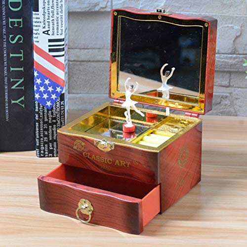 Coherny Creative Spin Music Box Ballerina Jewelry Box Mirror Play Compact Storage Box Birthday Gift for Girl