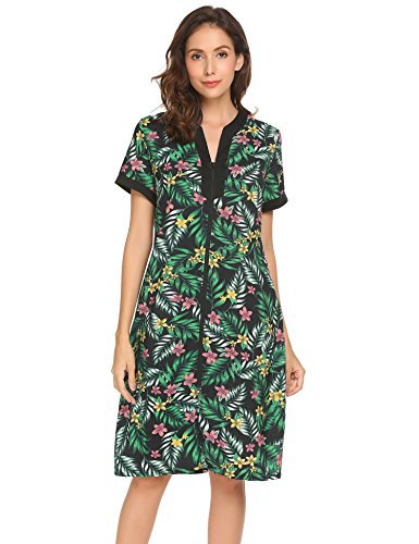 Ekouaer Sleepshirt Women's Zipper V-Neck Floral Loungewear Dress Pat3 S