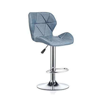 ZRXian-Barstools Bar Stools Bar Kitchen Breakfast Stool Padded Dining Chair with Backrest Gray Linen