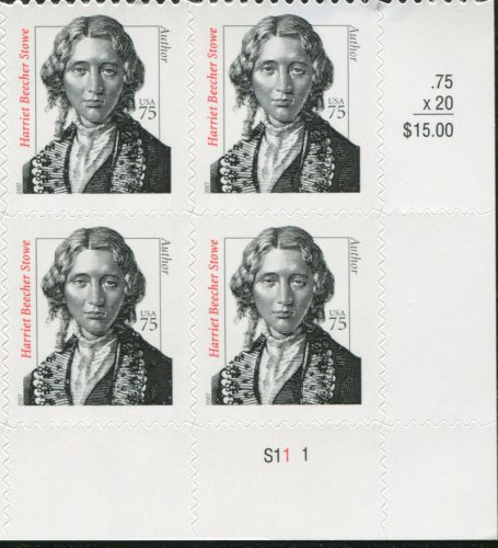 - HARRIET BEECHER STOWE ~ BLACK HERITAGE ~ ABOLITIONIST #3430 Plate Block of 4 x 75 cents US Postage Stamps