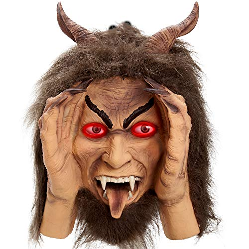 Scary Peeper Krampus Christmas Animated Decoration Prank - Krampus Creepy Face - with Glowing Red LED Moving Eyes – Funny Motion Activated Gag Prop for Haunted House