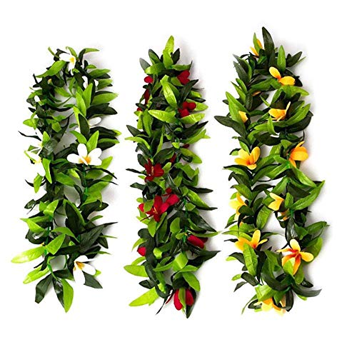 FOONEE 3pcs Greenery Garland Fake Hawaiian Leis,Fake Wreath Bulk Set Floral Necklace Party Favors, Garland Decorations Any Occasion