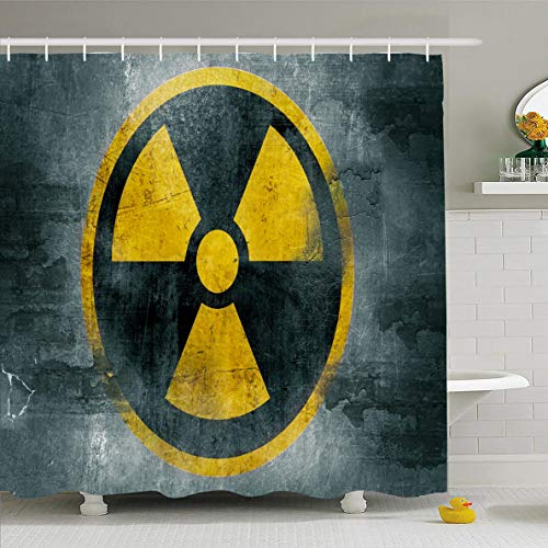(Ahawoso Shower Curtain 60x72 Inches Pollution Yellow Reactor Radioactive Nuclear Hazard Grungy Radiation Waste Abstract Alert Design Waterproof Polyester Fabric Bathroom Curtains Set with Hooks)