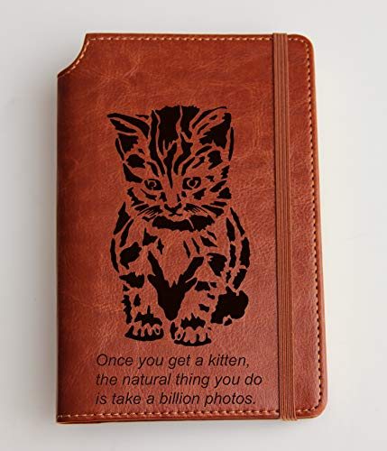 (Personalized Kitten quote Journal with Custom text or custom quote engraved Journal leather bound, strip with the same color to keep it closed, deer, buffalo)