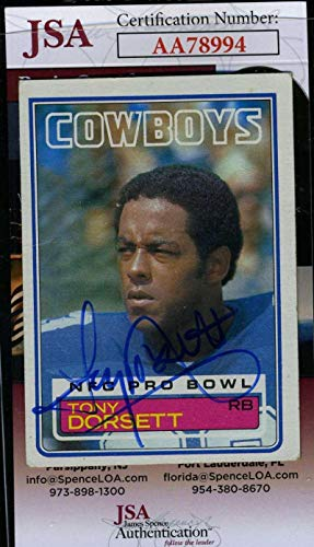 TONY DORSETT 1983 Topps Coa Hand Signed Authentic Autograph - JSA Certified - NFL Autographed Football Cards -