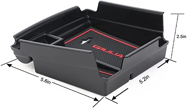 Cosilee Car Center Console Armrest Storage Box Tray for Alfa Romeo Giulia 2017 2018