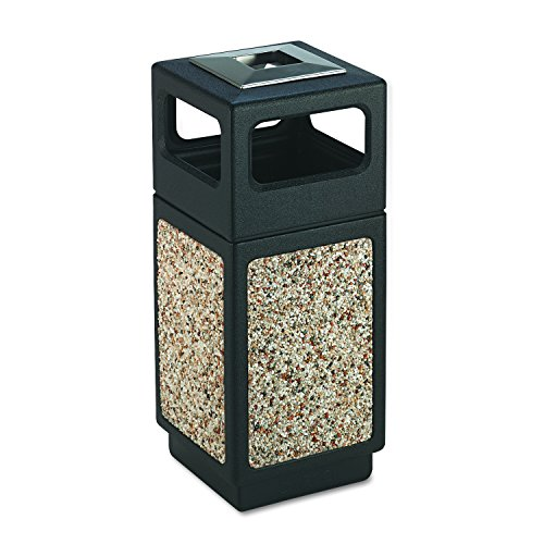 Safco Products 9470NC Canmeleon Aggregate Panel Trash Can, Ash Urn/Side Open, 15-Gallon, Black (Plastic Trash Receptacle)