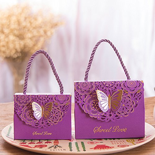 - Eyxia Wedding Favor Boxes Flower Laser Cut Party Favors Bags Baby Shower Candy Gift Box Set Butterfly Event Decoration Wholesale 20pcs Purple