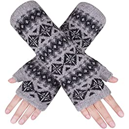Wooly Bugged Women's Wool Fingerless Gloves with Thumb Hole Knit Arm Warmers