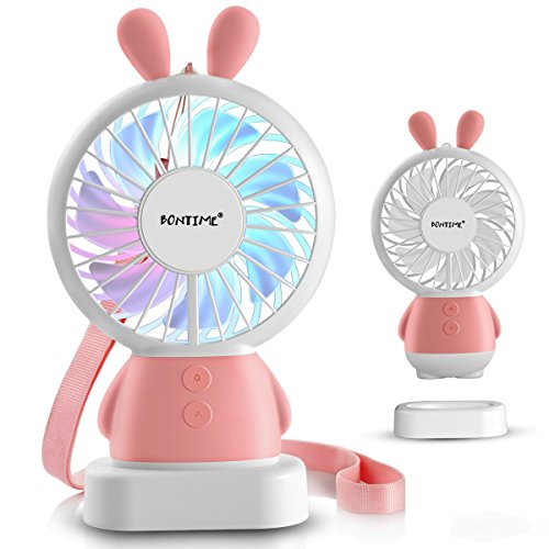BONTIME Mini Personal Fan - Cute & Adorable USB Rechargeable Portable Fan,Small Fan with Multi-Color LED Light,2 Adjustable Speeds, Perfect for Indoor or Outdoor Activities(Pink Bunny) by BONTIME