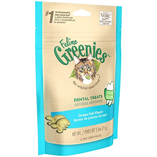 DISCONTINUED: FELINE GREENIES Dental Treats for Cats Ocean Fish Flavor 2.5 oz.
