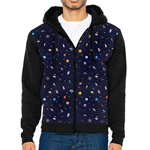 Space Icons and Infographics Pattern Boys' Adult Full Zip Hoodies Sweatshirts Athletic Sweaters Black