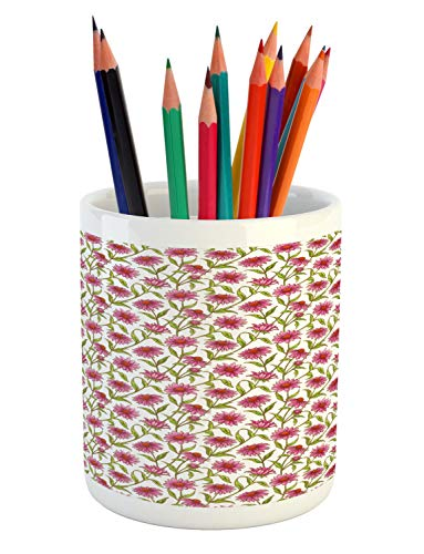 Ambesonne Daisy Pencil Pen Holder, Fresh and Organic Echinacea Petals Floral Themed Image Healthy Wildflower Design, Printed Ceramic Pencil Pen Holder for Desk Office Accessory, -