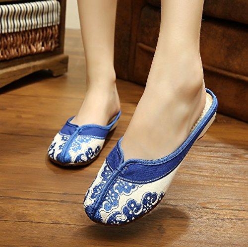 XHX Porcelana azul y blanca Zapatos bordados, lencería, estilo étnico, flip flop femenino, moda, cómodo, sandalias blue.