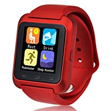 U80 Smart Watch Bluetooth 4.0 Anti-lost Wrist Wrap Watch Phone Mate for Android(Full function) and iPhone IOS(Partial function) (Red (Model 2)