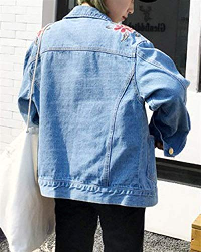 Denim Primavera Fashion De Múltiples Vaqueras Vintage Otoño Ropa Chaquetas Jeans Larga Abrigos Blau Bordado Botonadura Outerwear Elegante Bolsillos Abrigo Jacket Con Hipster Manga Mujer Adelina xwOqI