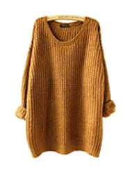 Aoibox Womens Basic Long Sleeve Oversized Knitted Crewneck Pullovers Sweaters Yellow