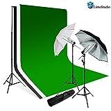 Limostudio 700W Photography Light Photo Video Studio Umbrella Lighting Kit, 10 x 10 ft. Studio Green chromakey photo backdrops Backgrounds Support kit, AGG687
